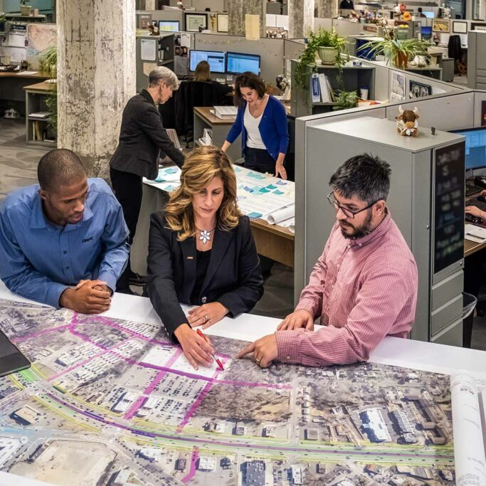 RK&K Team Members Reviewing Design Plans in the Office in Baltimore, MD