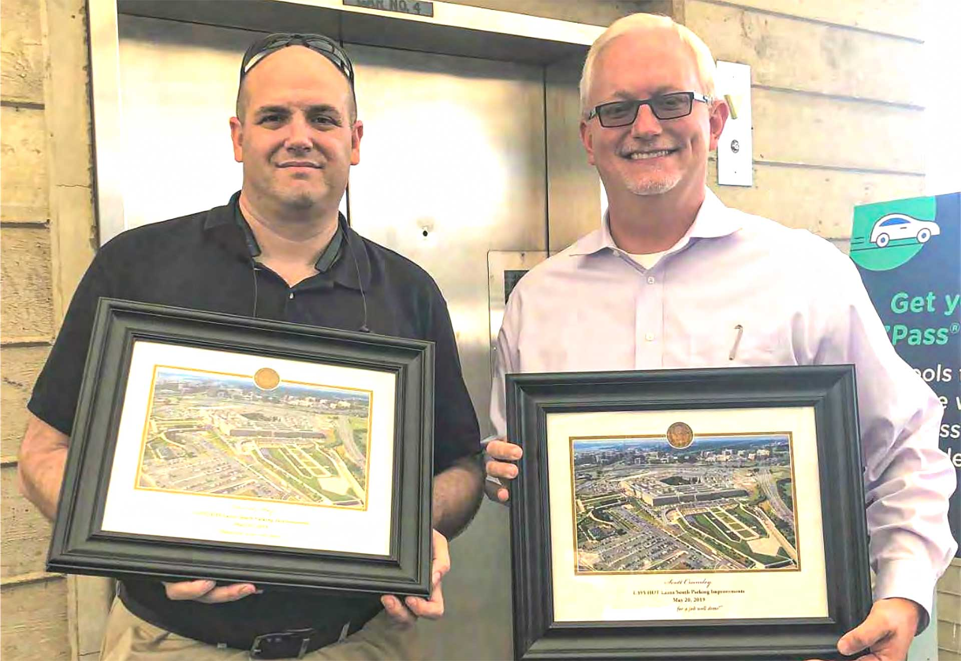 David May and Scott Crumley were recognized with a special picture and plaque at the ceremony by the Pentagon.