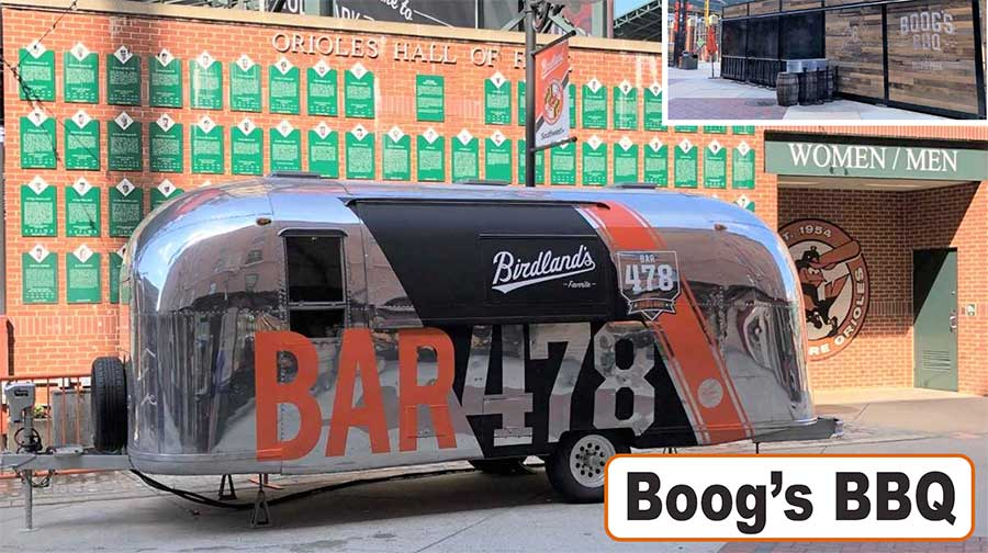Boog's BBQ's vintage airstream mobile bar at Oriole Park at Camden Yards.