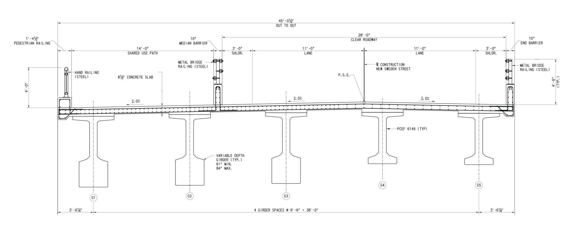 Blueprint of Christina River Bridge at Pier and at Midspan and Abutments