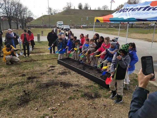 Students from the Francis Scott Key School breaking ground.