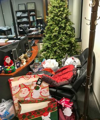 Angel Tree with Presents in Raleigh Office