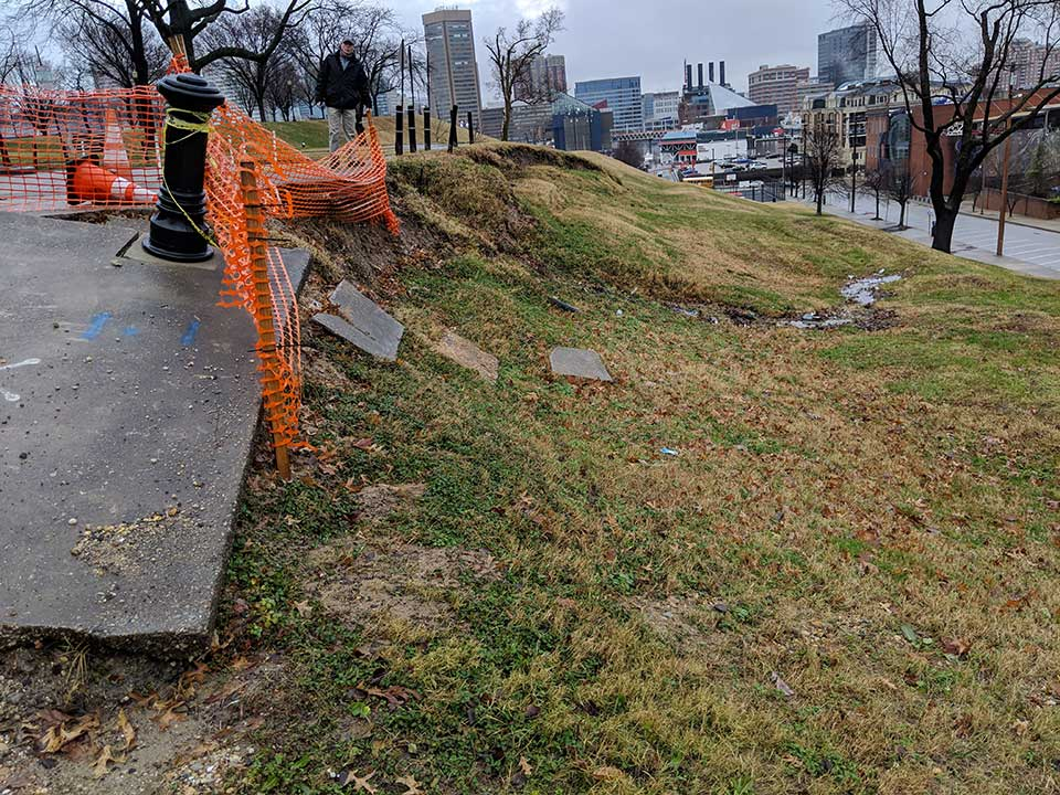 Slope failure in Federal Hill in Baltimore, MD