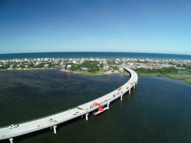 Rodanthe Bridge completed Spans 1 to 16, South Heading aerial view over Pamlico Sound