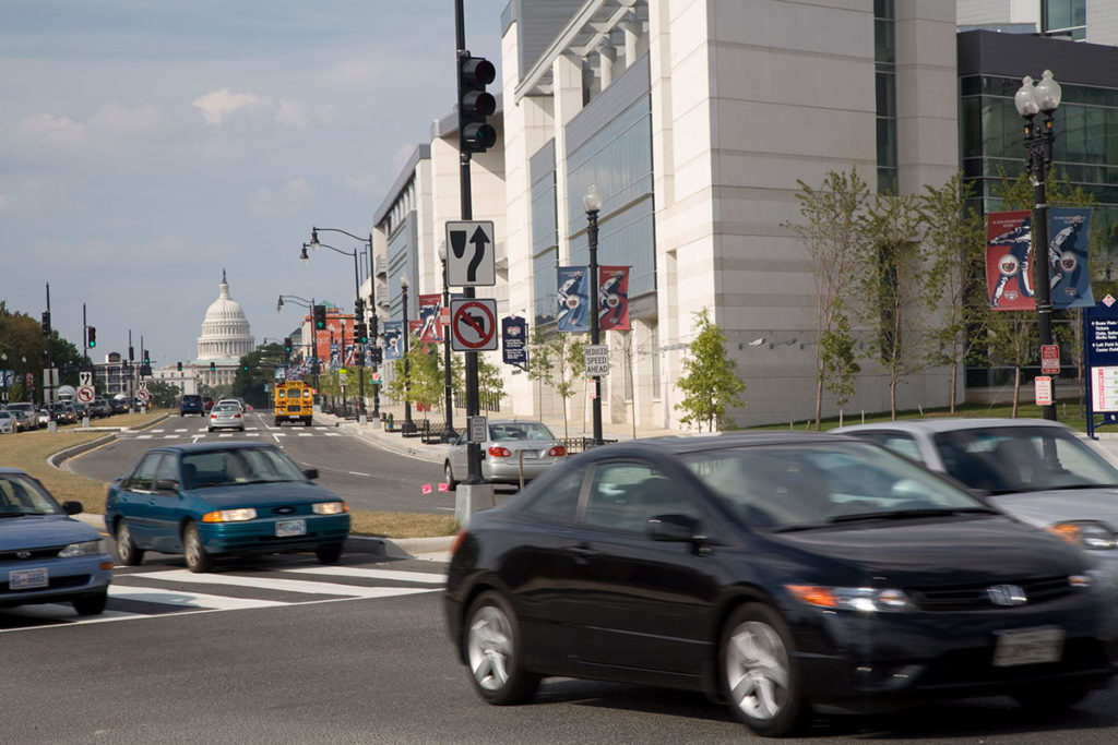 A view of the United States Capitol from S Capitol St SE in Washington, DC.