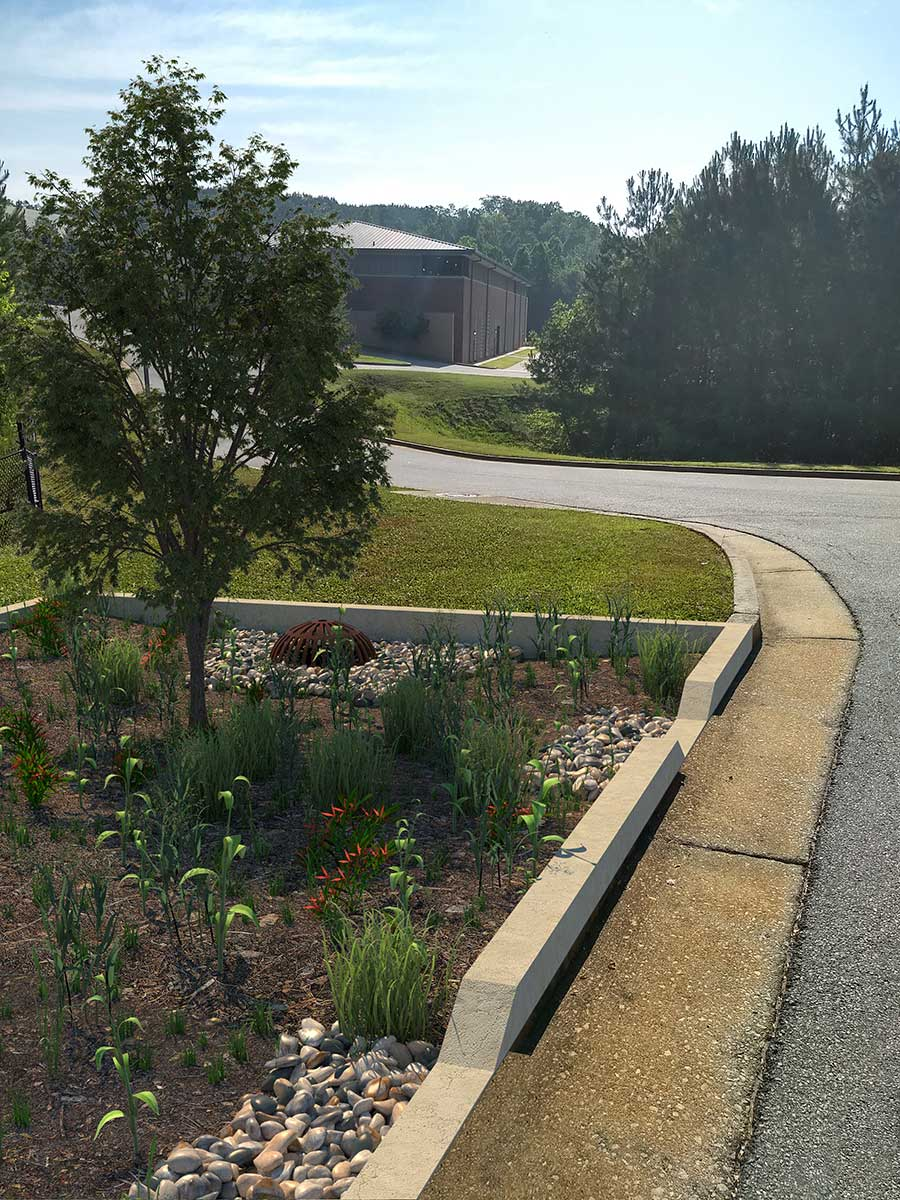 Conceptual rendering of bioretention retrofit at Gwinnett County water treatment facility.