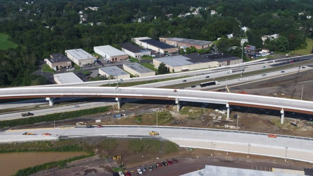 An aerial view of the PA Turnpike/I-95 Interchange in Bucks County, Pennsylvania.