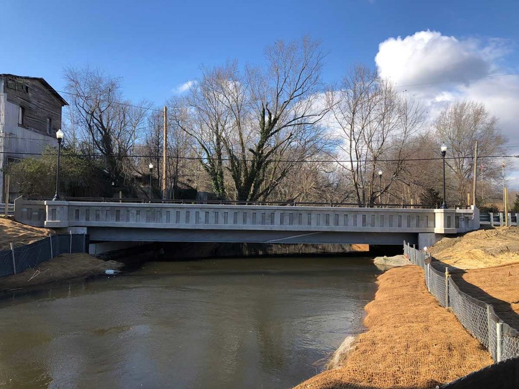 The new MD 213 bridge over Old Mill Stream Branch in Centreville, MD.
