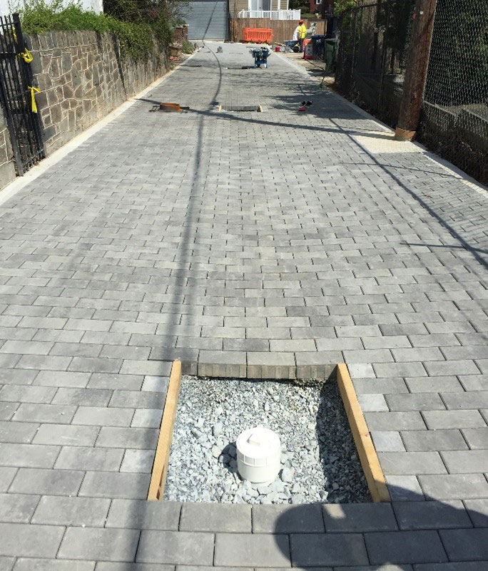 Cut bricks at observation well and concrete collar to be poured for Green Infrastructure Installations in Washington, DC.