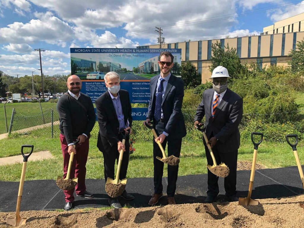 The groundbreaking ceremony at the Morgan State University Health and Human Services Building.